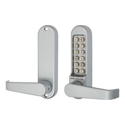 Borg BL5400 Code Operated Lock with Flat Bar Lever Handles - No Free Passage - Grey