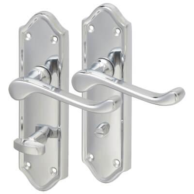 Aglio Ashmead Door Handle - Bathroom Set - Polished Chrome