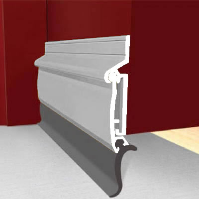 Exitex Automatic Rise and Fall Door Draught Excluder - 914mm - Inward Opening Doors - Mill Aluminiu)
