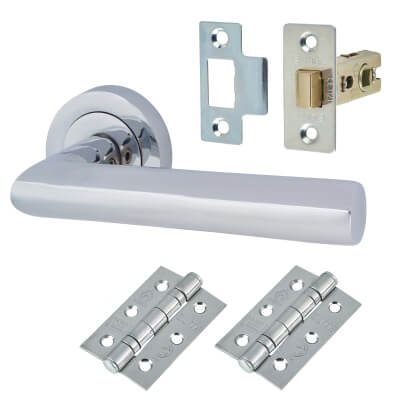 Touchpoint Emily Lever Door Handle on Rose - Door Kit - Polished Chrome