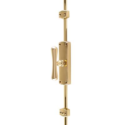 Fluted Knob Locking Espagnolette Bolt - Polished Brass