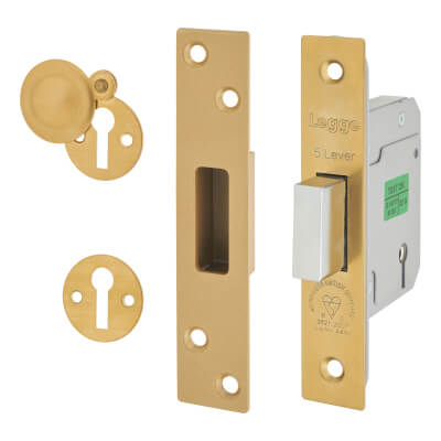Legge Heavy Duty BS3621:2007 5 Lever Deadlock - 64mm Case - 44mm Backset - Polished Brass