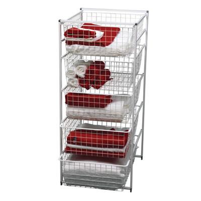 elfa® Basket Tower - 5 x Medium Baskets - 1040 x 450 x 540mm - White)