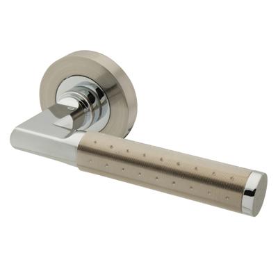 Excel Delta Lever Door Handle on Rose - Satin Nickel/Polished Chrome)
