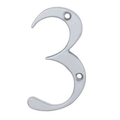 76mm Numeral - 3 - Satin Chrome