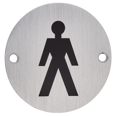 Mens Toilet Sign - 75mm - Satin Aluminium
