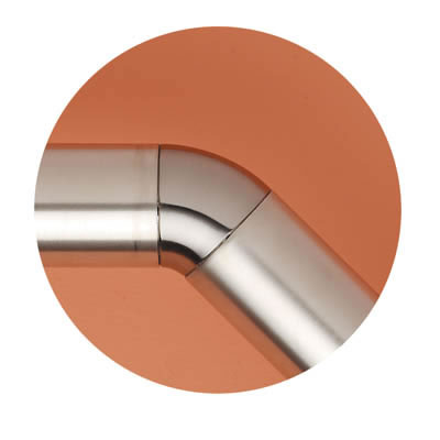 Easi-Rail 40mm Handrail System - 135 Degree Joint - Brushed Nickel