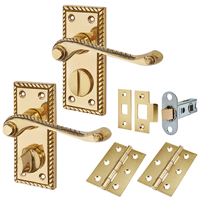 Touchpoint Budget Rope Edge Door Handle Kit - Privacy Set - Polished Brass