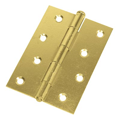 Loose Pin Steel Hinge - 100 x 67mm - Brass Plated - Pair