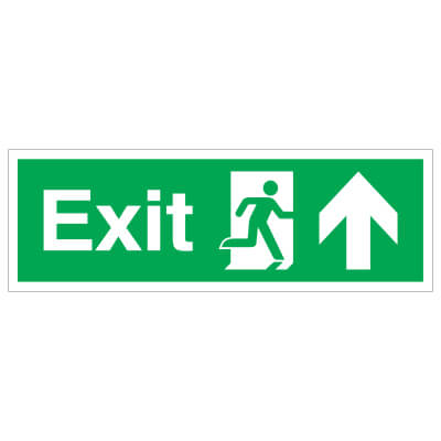 Exit Up - 150 x 450mm - Rigid Plastic