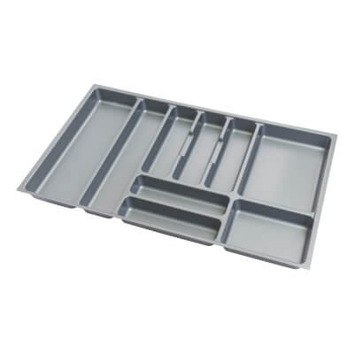 Cutlery Tray - To Suit 800mm Drawer Width - Grey Plastic