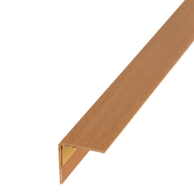 1000mm Self-Adhesive Plastic Angle Equal Sided - 20 x 20 x 1mm - Beech Effect