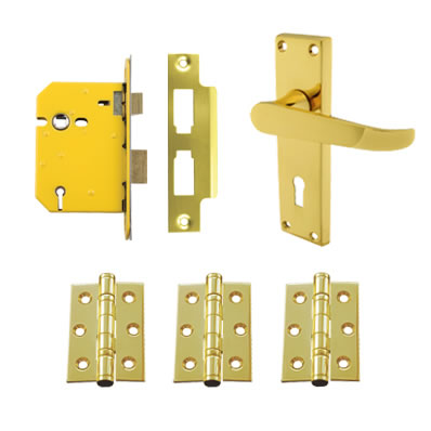 Aglio Victorian Handle Door Kit - Keyhole Lock Set - Polished Brass