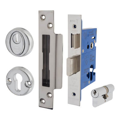 BS3621 Euro Sashlock & Double Cylinder - Case 65mm - Backset 44mm - Polished Stainless - Square For