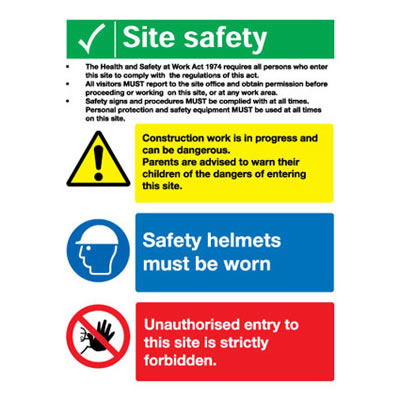 Site Safety Notice/Legal Text - 800 x 600mm