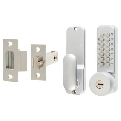 Fort Holdback Option Mechanical Code Lock - With Key Override - Satin Chrome Plated)