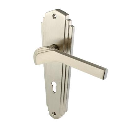 M Marcus Waldorf Door Handle - Keyhole Lock Set - Satin Nickel