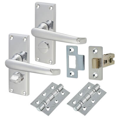 Aglio Victorian Handle Door Kit - Short Plate Privacy Set - Polished Chrome