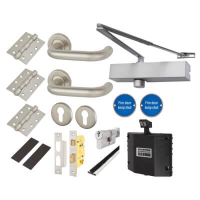 Medium Duty Lever on Rose Fire Door Kit with Hold Open Device - Euro Sashlock - Stainless Steel