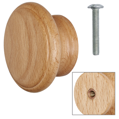 Cabinet Knob - Beech Lacquered - with Bolt & Insert - 60mm - Pack of 5