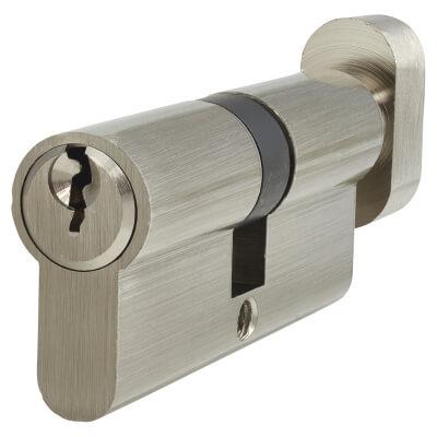 5 Pin Cylinder - Euro Thumbturn - Length 70mm - 35[k] + 35mm - Nickel