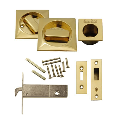 KLÜG Square Flush Handle Set with Latch - PVD Brass