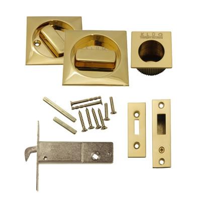 KLÜG Square Flush Handle Set with Latch - PVD Brass