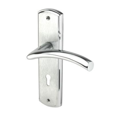 M Marcus Centaur Door Handle - Keyhole Lock Set - Satin/Polished Chrome