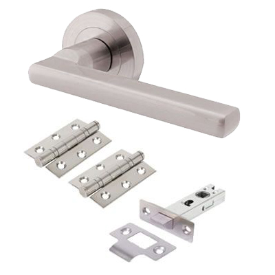 Touchpoint Sophia Lever Door Handle on Rose - Door Kit - Satin Nickel