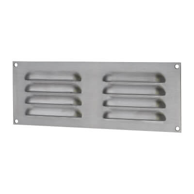 Hooded Louvre Vent - 242 x 89mm - 3344mm2 Free Air Flow - Satin Chrome