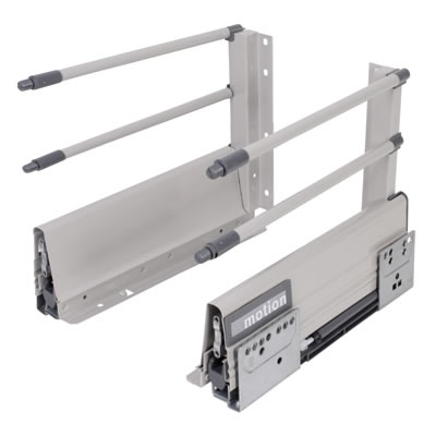 Motion 204mm Drawer Runner Pack - Soft Close - Includes 2 x Pairs of Rods - 450mm - Grey