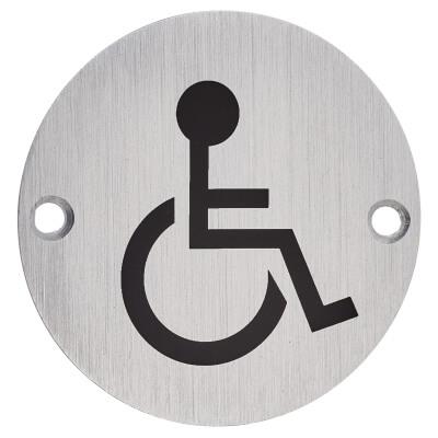 Disabled Toilet Door Sign - 75mm - Satin Aluminium)