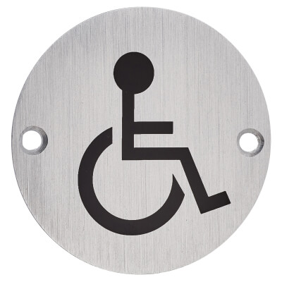 Disabled Toilet Door Sign - 75mm - Satin Aluminium)