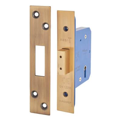 A-Spec Architectural 5 Lever Deadlock - 65mm Case - 44mm Backset - Florentine Bronze
