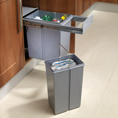 Soft Close Pull Out Waste Bin - Cabinet Width 300mm - 1 x 10L + 1 x 20L