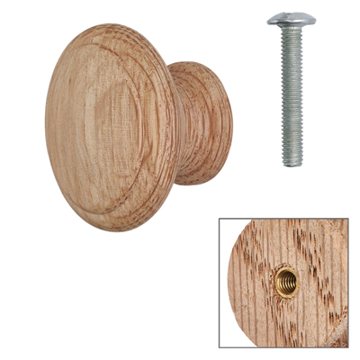 Cabinet Knob - Raw Light Oak - with Bolt & Insert - 35mm - Pack of 5