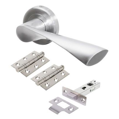 Morello Knightsbridge Lever Door Handles on Rose - Door Kit - Satin Chrome