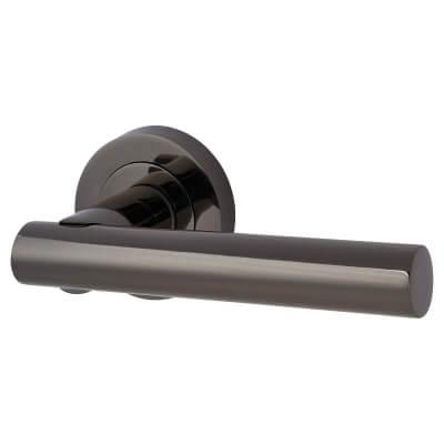 Touchpoint Bella Lever Door Handle on Rose - Black Nickel