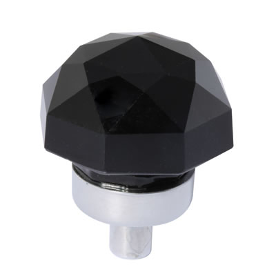 Aglio Floral Coloured Glass Cabinet Knob - 25mm - Polished Chrome/Black