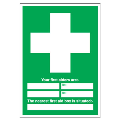 Your First Aiders Are/Nearest First Aid Box - 210 x 148mm - Rigid Plastic