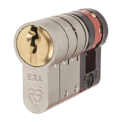 ERA 3 Star Fortress Cylinder - Euro Single - Length 45mm - 35 + 10mm - Nickel and Brass
