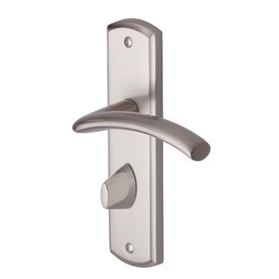M Marcus Centaur Door Handle - Bathroom Set - Satin Nickel