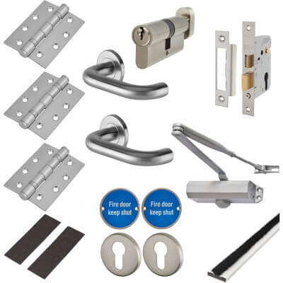 Light Duty Door Handle on Rose Fire Door Kit - Euro Sashlock - Satin Stainless