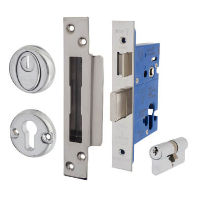 BS3621 Euro Sashlock & Double Cylinder - Case 76mm - Backset 57mm - Polished Stainless - Square For