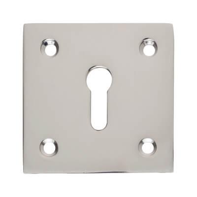 Square Plate Brass Escutcheon - Polished Chrome