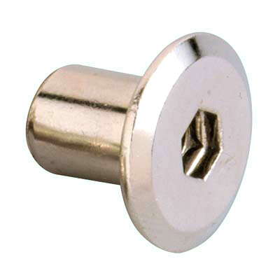 M6 Joint Connector End Cap - White Zinc - Pack 10
