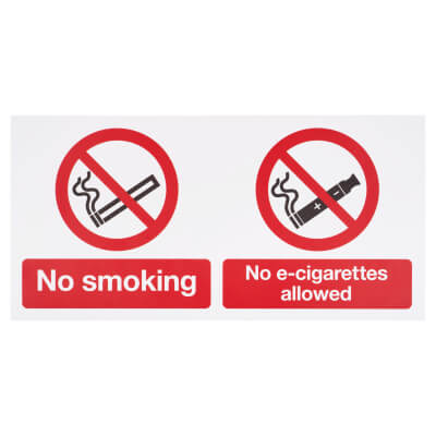 No smoking, No E-Cigarettes Allowed - 150 x 300mm