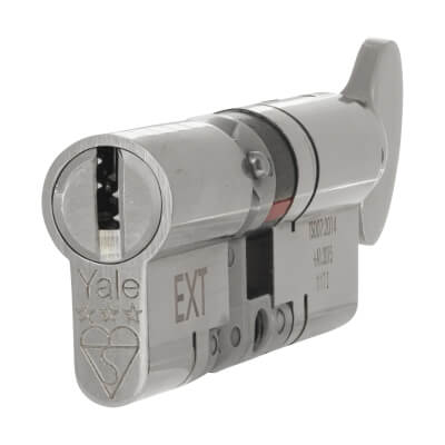 Yale® 3 Star Anti-Snap Platinum Euro Thumbturn Cylinder - 80mm Length - 40[k]* + 40mm - Bright