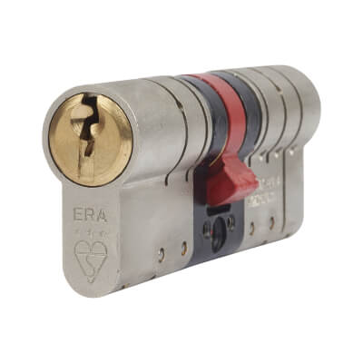 ERA 3 Star Fortress Cylinder - Euro Double - Length 70mm - 35 + 35mm - Nickel/Brass