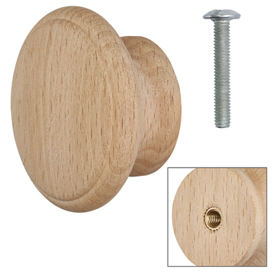 Cabinet Knob - Raw Beech - with Bolt & Insert - 60mm - Pack of 5